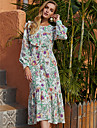 Women\'s A Line Dress Midi Dress Green Long Sleeve Floral Ruffle Print Fall Winter Round Neck Casual Going out Lantern Sleeve 2021 S M L XL