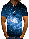 Men\'s Polo 3D Print Galaxy Graphic Print Short Sleeve Daily Tops Basic Blue