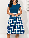 Women\'s A Line Dress Knee Length Dress Blue Short Sleeve Polka Dot Print Geometric Ruched Patchwork Print Spring & Summer Round Neck 1950s Hot Elegant Going out 2021 S M L XL XXL