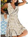 Women\'s Sheath Dress Blue Wine Khaki Black Sleeveless Floral Leopard Graphic Prints Print V Neck Basic Hot XS S M L XL 2XL