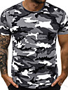 Men\'s T shirt Shirt non-printing Camo / Camouflage Short Sleeve Daily Tops Round Neck Blue Army Green Light gray