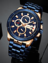 mens luxury watches business chronograph dress waterproof stainless steel analog quartz wrist watch (black)