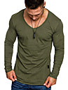 Men\'s T shirt Shirt non-printing Solid Colored Long Sleeve Daily Tops V Neck Black Green Gray