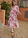 Women\'s Swing Dress Midi Dress Red Long Sleeve Print Ruffle Print Fall Winter V Neck Casual Going out Flare Cuff Sleeve 2021 S M L XL