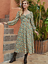 Women\'s Swing Dress Midi Dress Green Long Sleeve Floral Ruched Print Fall Winter V Neck Elegant Casual Going out Lantern Sleeve 2021 S M L XL