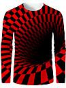 בגדי ריקוד גברים חולצה קצרה הדפסת תלת מימד גראפי מופשט 3D שרוול ארוך יומי צמרות בסיסי שחור אדום