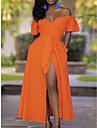 Women\'s A Line Dress Maxi long Dress Orange Short Sleeve Solid Color Fall Off Shoulder Elegant Party 2021 S M L XL XXL 3XL