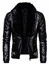 men\'s zipper removable fur collar jacket,leather vintage steam pocket punk gothic retro coat