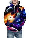 Férfi Pulóver kapucnis pulóver Grafika Galaxis minta Kapucni Napi 3D nyomtatás Alap Pulcsik Pulóverek Hosszú ujj Medence