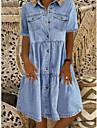 Women\'s Denim Shirt Dress Knee Length Dress Blue Dark Blue Short Sleeve Square Ruched Pocket Button Spring Summer Shirt Collar Hot Casual 2021 S M L XL XXL 3XL / 100% Cotton / 100% Cotton