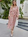 Women\'s Swing Dress Midi Dress Blushing Pink Long Sleeve Floral Print Fall Winter V Neck Elegant Casual Going out Lantern Sleeve 2021 S M L XL / Chiffon