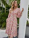 Women\'s A Line Dress Knee Length Dress Blushing Pink Long Sleeve Floral Print Fall Winter V Neck Casual Going out Lantern Sleeve 2021 S M L XL / Chiffon
