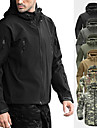 Men\'s Hoodie Jacket Hiking Softshell Jacket Military Tactical Jacket Camo Outdoor Winter Thermal Waterproof Windproof Fleece Lining Winter Fleece Jacket Top Fleece Softshell Skiing Camping / Hiking