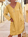 Women\'s Shift Dress Knee Length Dress Yellow Gray Khaki Black Light Blue Long Sleeve Solid Color Fall V Neck Hot Casual vacation dresses Loose 2021 S M L XL XXL 3XL 4XL 5XL