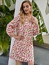 Women\'s Shift Dress Short Mini Dress Blushing Pink Long Sleeve Floral Ruffle Print Fall Winter V Neck Casual Going out Lantern Sleeve 2021 S M L XL / Chiffon