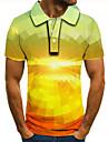 Pánské Golfová košile Tenisové tričko 3D tisk Grafika Tisk Krátký rukáv Denní Topy Základní Zlatá