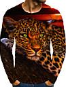 T-shirt Homme 3D effet Graphique Animal Normal Imprime Manches Longues Quotidien Standard Polyester basique Col Rond
