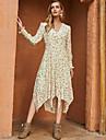 여성용 스윙 드레스 미디 드레스 베이지 긴 소매 플로럴 프린트 가을 겨울 V 넥 캐쥬얼 무무 데이트 2021 S M L XL / 쉬폰