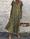 Women\'s Swing Dress Maxi long Dress White Red Green Gray Short Sleeve Floral Print Print V Neck Hot Casual 2021 S M L XL XXL 3XL 5XL