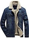 Men\'s Notch lapel collar Jacket Solid Colored Cotton Denim light blue Denim dark blue L XL XXL