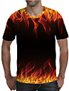 Men\'s T shirt Shirt 3D Print Graphic Flame Plus Size Print Short Sleeve Daily Tops Elegant Exaggerated Round Neck Red