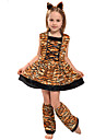 Tiger Dress Cosplay Costume Party Costume Kid\'s Girls\' Cosplay Vacation Dress Halloween Halloween Festival / Holiday Polyester Brown Easy Carnival Costumes / Headwear / Headwear