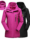Women\'s Hoodie Jacket Hiking Jacket Winter Outdoor Solid Color Thermal Warm Windproof UV Resistant Breathable 3-in-1 Jacket Top Single Slider Camping / Hiking Ski / Snowboard Fishing Black / Fuchsia