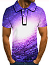 Men\'s Polo 3D Print Graphic Print Short Sleeve Daily Tops Basic Purple
