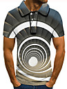 Men\'s Polo 3D Print Graphic Optical Illusion Print Short Sleeve Daily Tops Basic Gray