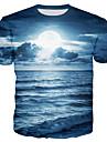 Homens Camiseta Camisa Social impressao 3D Ferias Manga Curta Roupa Diaria Blusas Decote Redondo Branco Roxo Vermelho / Verao
