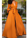 Women\'s Sheath Dress Maxi long Dress Green Orange White Light Green Long Sleeve Solid Color Patchwork Fall Spring V Neck Hot Casual 2021 S M L XL XXL / Going out / Work