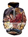 メンズワンピース3Dプリントプルオーバーパーカースウェットシャツ、フロントポケット付き(カラー1、タグ3xl / us xxl)