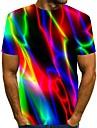 Hombre Camiseta Camisa Impresion 3D Arco iris Grafico Tallas Grandes Estampado Manga Corta Diario Tops Chic de Calle Escote Redondo Azul Piscina Morado Negro