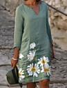 Women\'s Shift Dress Knee Length Dress Light Green Half Sleeve Print Print Summer V Neck Hot Casual vacation dresses Loose 2021 S M L XL XXL 3XL 4XL 5XL