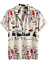 Men\'s Shirt Other Prints Graphic Short Sleeve Daily Tops Basic Button Down Collar Beige