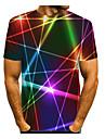 Men\'s T shirt Shirt 3D Print Graphic Abstract 3D Print Short Sleeve Daily Tops Round Neck Rainbow