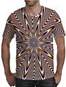 男性用 Tシャツ 3Dプリント グラフィック プラスサイズ プリント 半袖 日常 トップの エレガント 誇張された レインボー