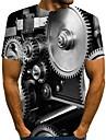 Homens Camiseta Camisa Social Impressao 3D Grafico Tamanhos Grandes Estampado Manga Curta Diario Blusas Moda de Rua Decote Redondo Preto