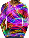 Men\'s T shirt 3D Print Graphic 3D Plus Size Print Long Sleeve Daily Tops Elegant Exaggerated Rainbow
