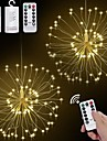 2pcs LED Hanging Starburst String Lights 120 LEDs DIY firework Copper Fairy Garland Christmas Lights Outdoor Festival Party Holiday Gift Twinkle Light 1pc
