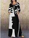 Γυναικεία Φόρεμα σε γραμμή Α Μακρύ φόρεμα Μπλε τυρκουάζ Λευκό Ρουμπίνι Μακρυμάνικο Στάμπα Στάμπα Φθινόπωρο Άνοιξη Στρογγυλή Λαιμόκοψη Καθημερινό 2021 M L XL XXL 3XL 4XL 5XL