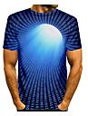 Miesten T-paita Paita 3D-tulostus Kuvitettu Abstrakti 3D Pluskoko Painettu Lyhythihainen Päivittäin Topit Pyöreä kaula-aukko Uima-allas Rubiini Keltainen