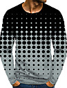 Homens Camiseta Impressao 3D Grafico 3D Tamanhos Grandes Estampado Manga Longa Diario Blusas Elegante Exagerado Cinzento