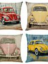 sada 4 retro auto plátěných čtvercových dekorativních polštářů na polštáře 18x18