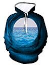 Herre Plusstørrelser Pullover-hættetrøje Grafisk Hætte Daglig I-byen-tøj 3D-udskrivning Afslappet Hættetrøjer Sweatshirts Langærmet Blå Lilla Grå
