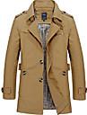 Bărbați Unisex Palton pardesiu Zilnic Muncă Toamnă Primăvară Regulat Palton Un singur rând, un nasture Rever Clasic Fit regulat Respirabil Casual Jachete Manșon Lung Culoare solidă Bleumarin Kaki
