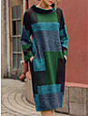 Women\'s Shift Dress Midi Dress Purple Gray Green Red Long Sleeve Color Block Print Fall Winter Round Neck Casual Vintage Loose 2021 M L XL XXL / Cotton / Cotton