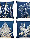sada 4 jednoduchých uměleckých rostlinných plátěných čtvercových dekorativních polštářů na polštáře 18x18