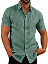 Men\'s Shirt Other Prints Solid Colored Short Sleeve Cotton Tops Solid Color Basic Casual / Daily Button Down Collar Khaki Green White