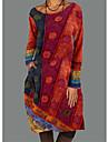 Per donna Vestito a trapezio Abito midi Blu Rosso Manica lunga Con stampe Con stampe Autunno Primavera Rotonda Casuale 2021 M L XL XXL 3XL